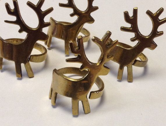 Napkin Ring Holders Christmas   Rustic Reindeer Brass Set Of Four