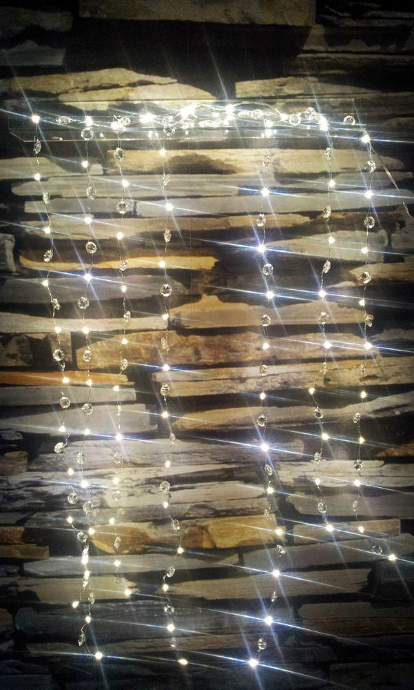 90 Micro LED Lichterregen Silberdraht Kristall Außen Draht Kronleuchter Klunker