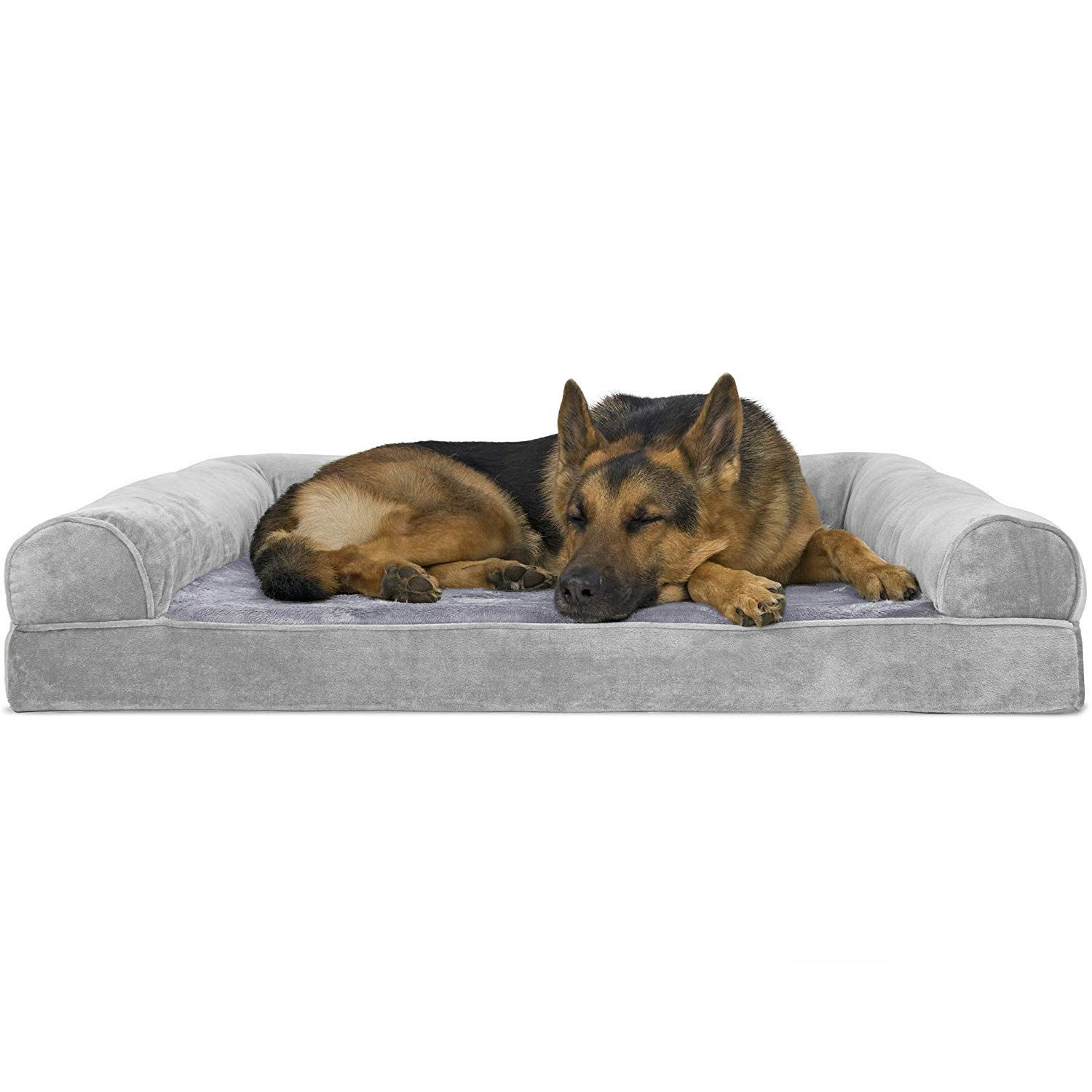 Furhaven Pet Dog Bed Orthopedic Faux Fur Velvet Traditional Sofa Style Living Room Couch Pet Be Orthopedic Dog Bed Dog Pet Beds Dog Sofa Bed