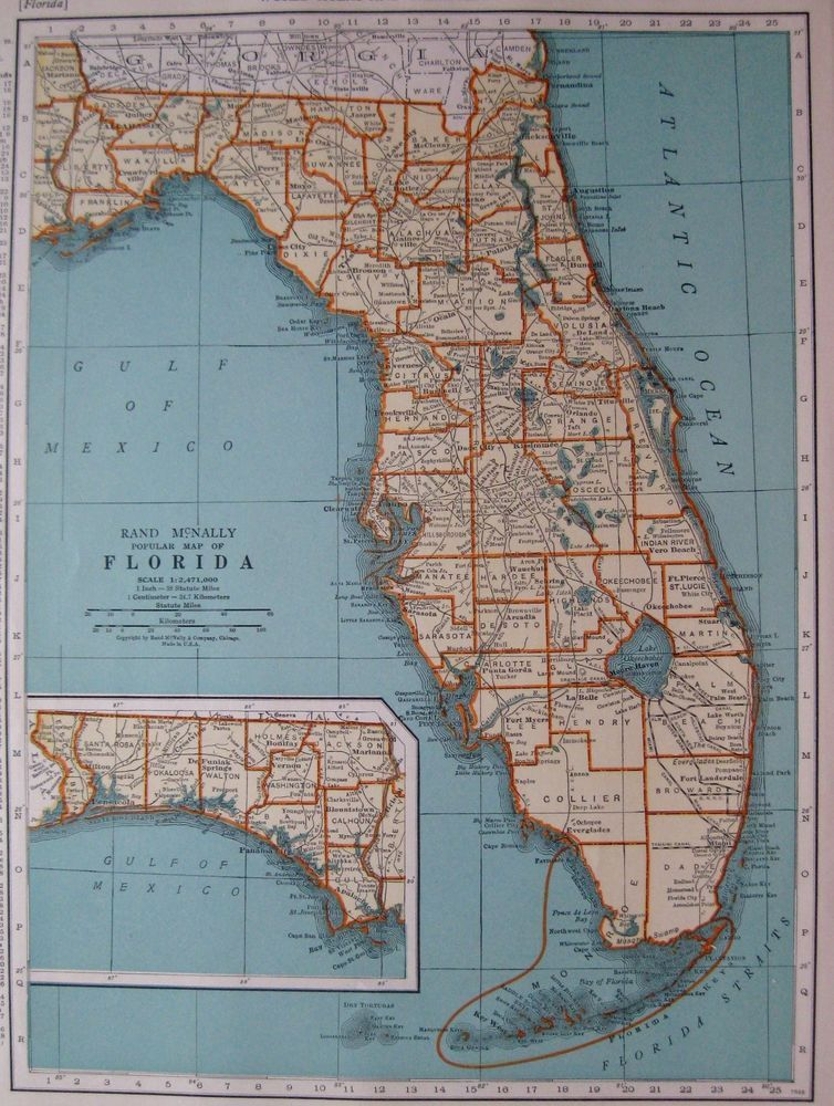 1937 Antique FLORIDA Map State Map of Florida Gallery Wall Art 2834     1937 Antique FLORIDA Map State Map of Florida Gallery Wall Art 2834