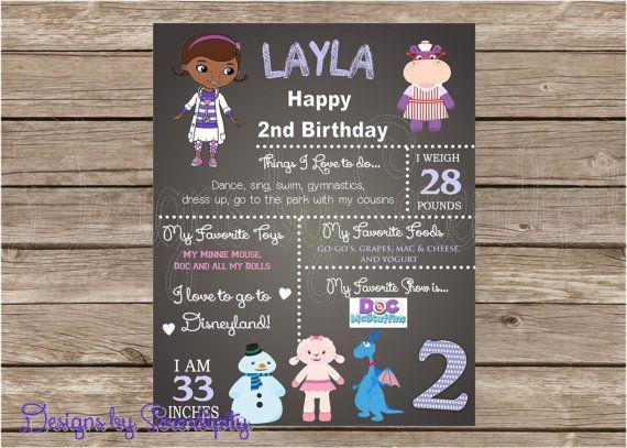 Doc Mcstuffins Theme Birthday Poster Board Sign 16x20 Chalkboard Art Custom Printable DIY On Etsy 1495