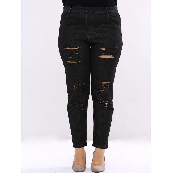 Plus Size Chic Ripped Black Jeans — 32.18 € ---------------------Size: 2XL Color: BLACK