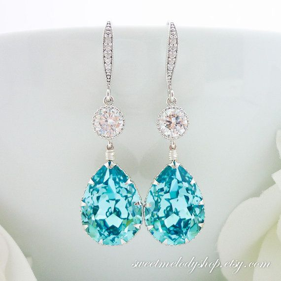 Wedding Jewelry Bridal Bridesmaid Gift Light Turquoise Swarovski Crystal Teardrop Earrings Tiffany Blue Something