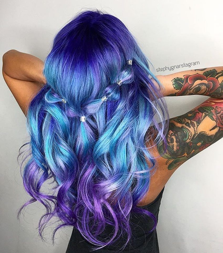 Pulp Riot  Beauty: Fantasy Unicorn Purple Violet Red Cherry Pink yellow Bright Hair Colour Color Coloured Colored Fire Style curls haircut lilac lavender short long mermaid blue green teal orange hippy boho ombré woman lady pretty selfie style fade makeup grey white silver trend trending  Pulp Riot