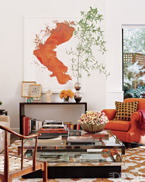 Bright Orange Living Room Accessories: Bright And Cheery Modern Orange Living Room.