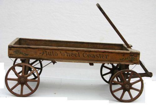24c Antique Quot Auto Wheel Coaster Quot Wooden Wagon In Orig