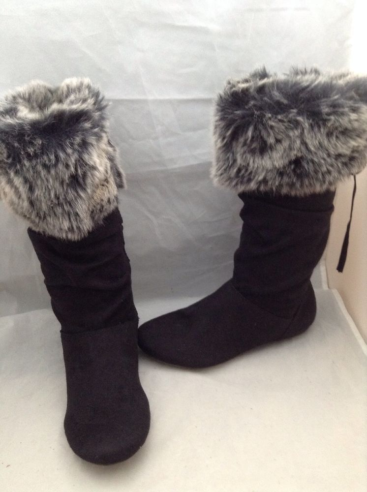 2a2045fbe837 Justice Boots Shoes faux fur Suede Black Youth Girl Size 5  Justice  Boots