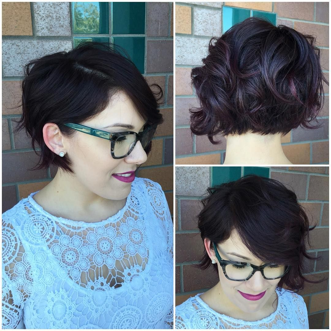 Wavy Undercut Bob on Dark Hair with Burgundy Highl