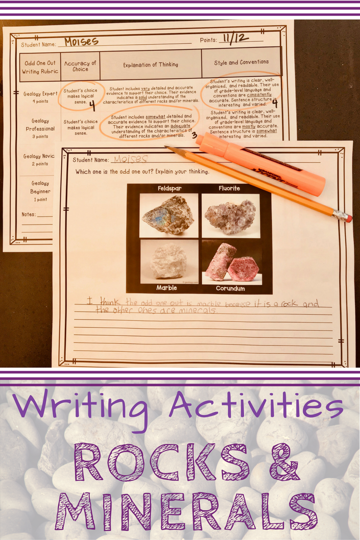Rocks And Minerals Writing Activities And Rubrics  Rubrics