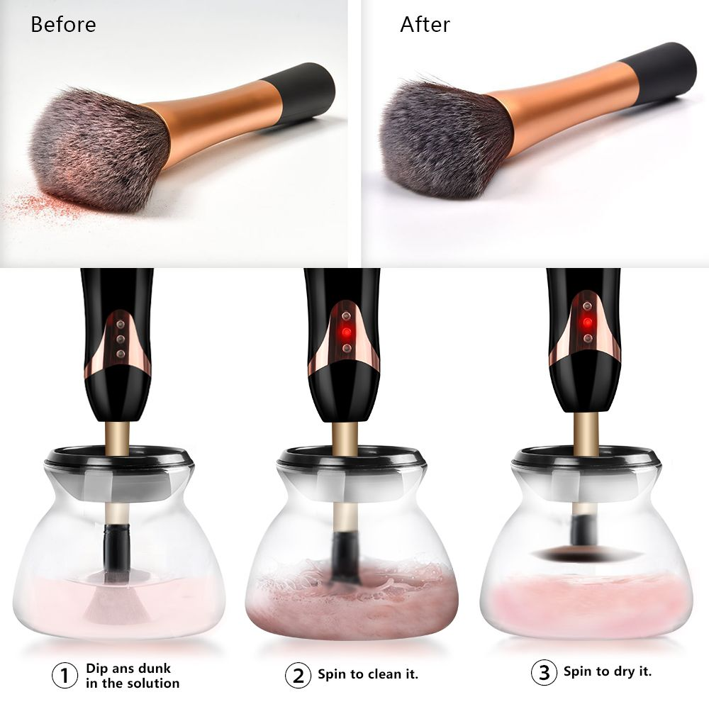 Makeup Brush Cleaner Machine Usb Rechargeable Kit 2 Speed