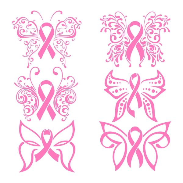 Free Pink Ribbon Silhouette Design and Cut File (Breast Cancer ...