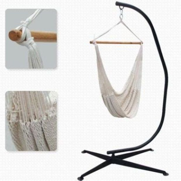 new home outdoor cotton rope hammock chair w heavy duty c frame chair stand new home outdoor cotton rope hammock chair w heavy duty c frame      rh   pinterest