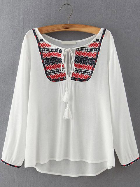 cf0dfb1ce4 White Tie-neck Embroidered Loose Blouse Ropa Hermosa