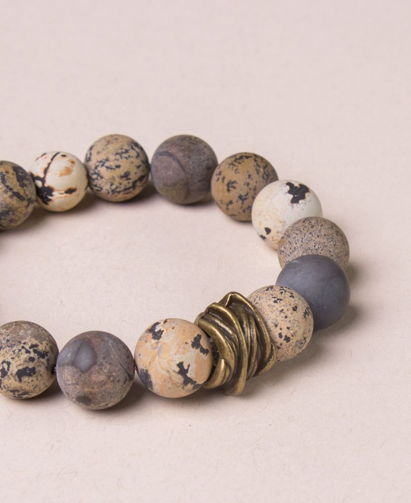 The Earth Tone Variations Of Jasper Stone In This Beaded Bracelet Are Said To Help Wearer See Their Strengths And Weaknesses