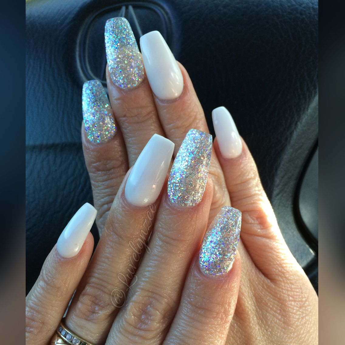 acrylic nails, white acrylic nails, silver and white nails, long