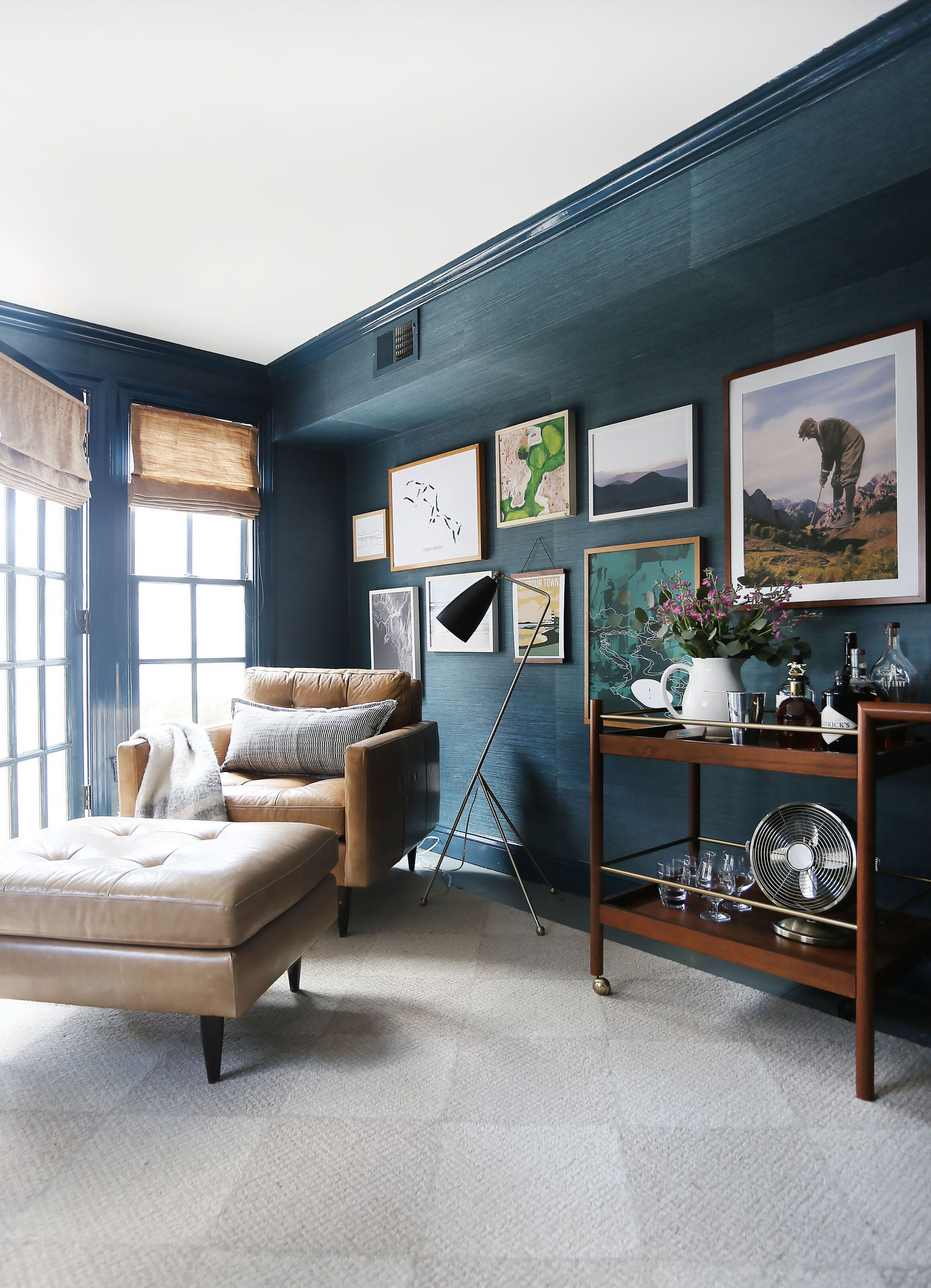 A dark + cozy cottage office for the art (and golf