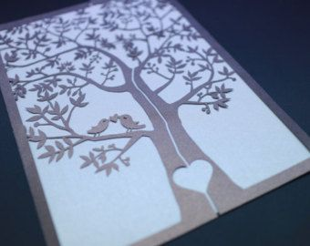 25 Set Laser cut Tree Design Pattern wedding invitations with