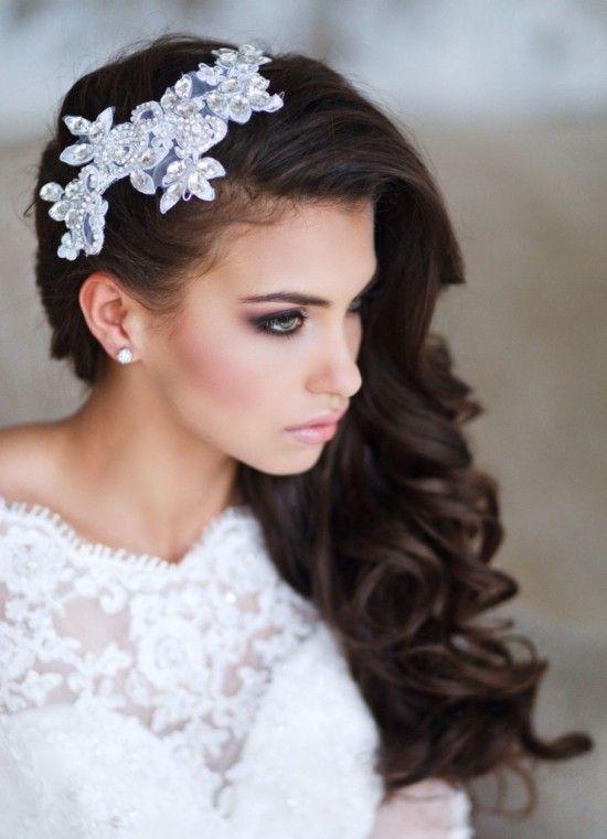Peinados de novia de cabello suelto