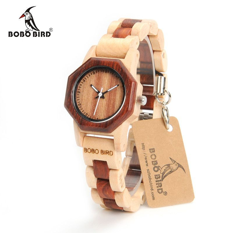 BOBO BIRD M25 or M26 Women's Wooden Analog Quartz Wristwatches With Gift Box