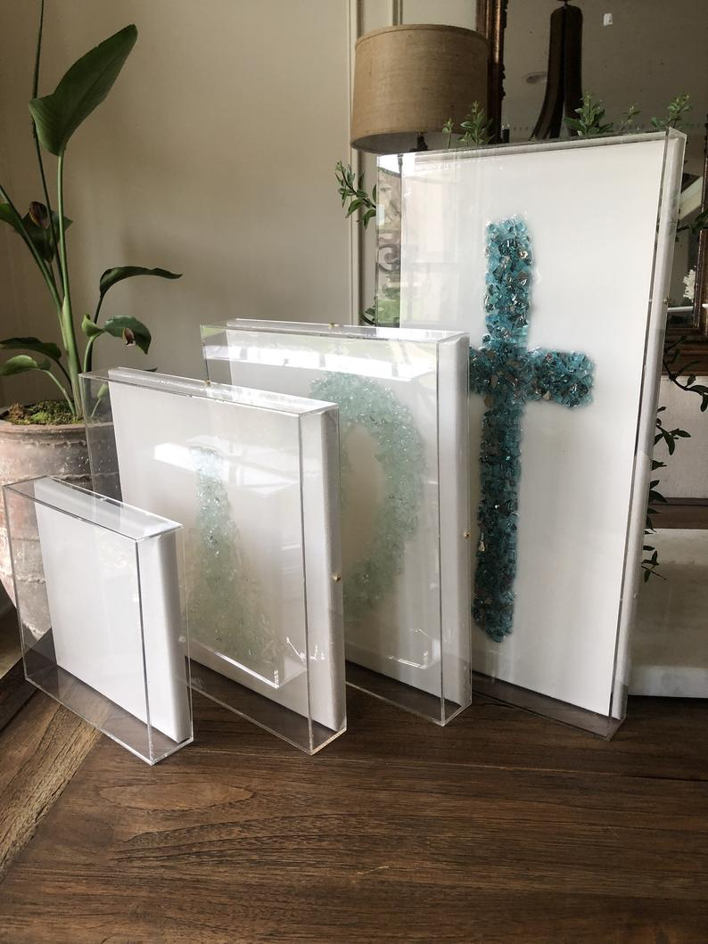 Ready To Ship Frames Acrylic Clear Shadow Box With White Etsy In 2020 Acrylic Frames Lucite Boxes Shadow Frame