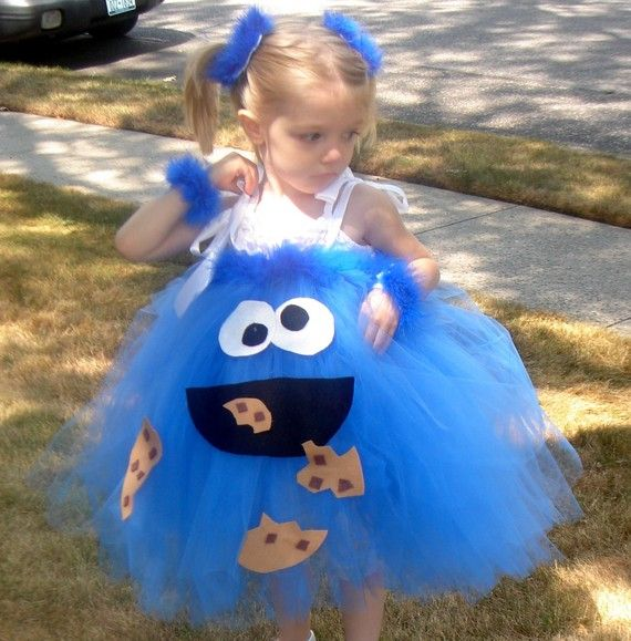 Handmade Boutique COOKIE MONSTER Inspired Tutu Dress Halloween