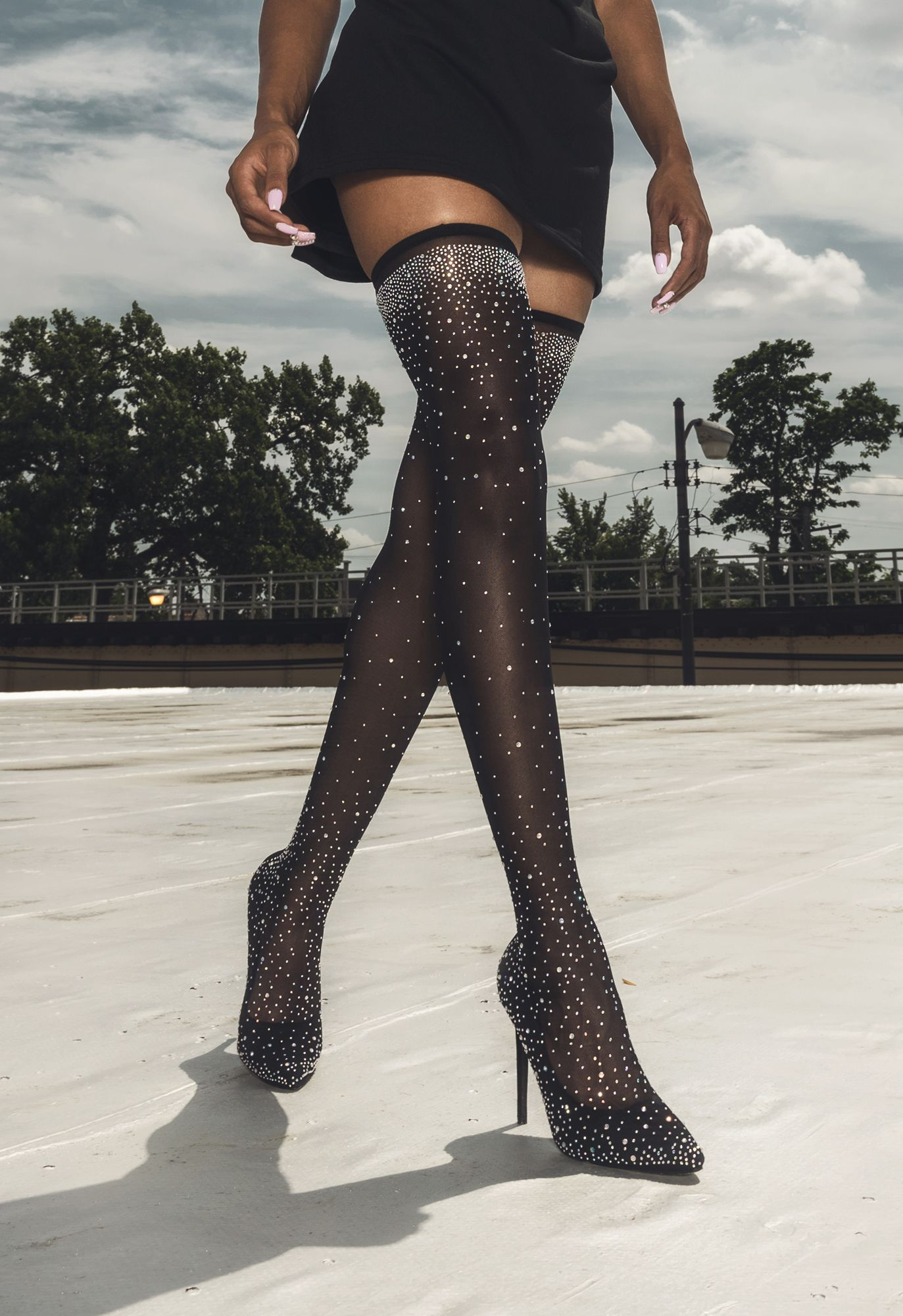 Fine Mesh Diamante Sparkly Thigh High Heeled Boots in Black ... 28338225b9bb