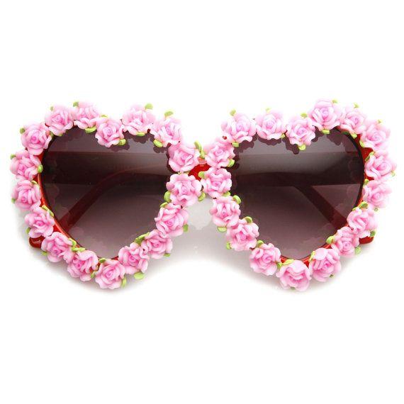 0cb53c9f03 Womens Heart Shaped Flower Adorned Oversize Sunglasses 9197 from zeroUV