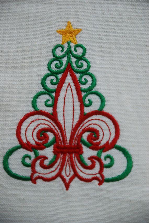 AzEB Machine Embroidery Quilt Block FLEUR DE LIS Christmas Tree