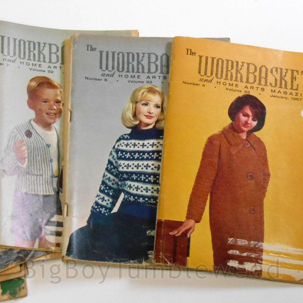 VINTAGE LOT 12 pc 1967 COMPLETE YEAR Workbasket Magazine craft art quilt pattern
