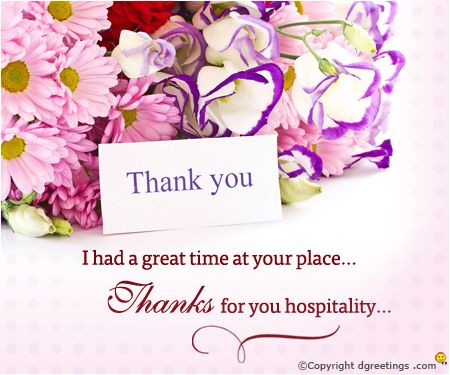Let your host know how much you enjoyed their hospitality | Thanks ...
