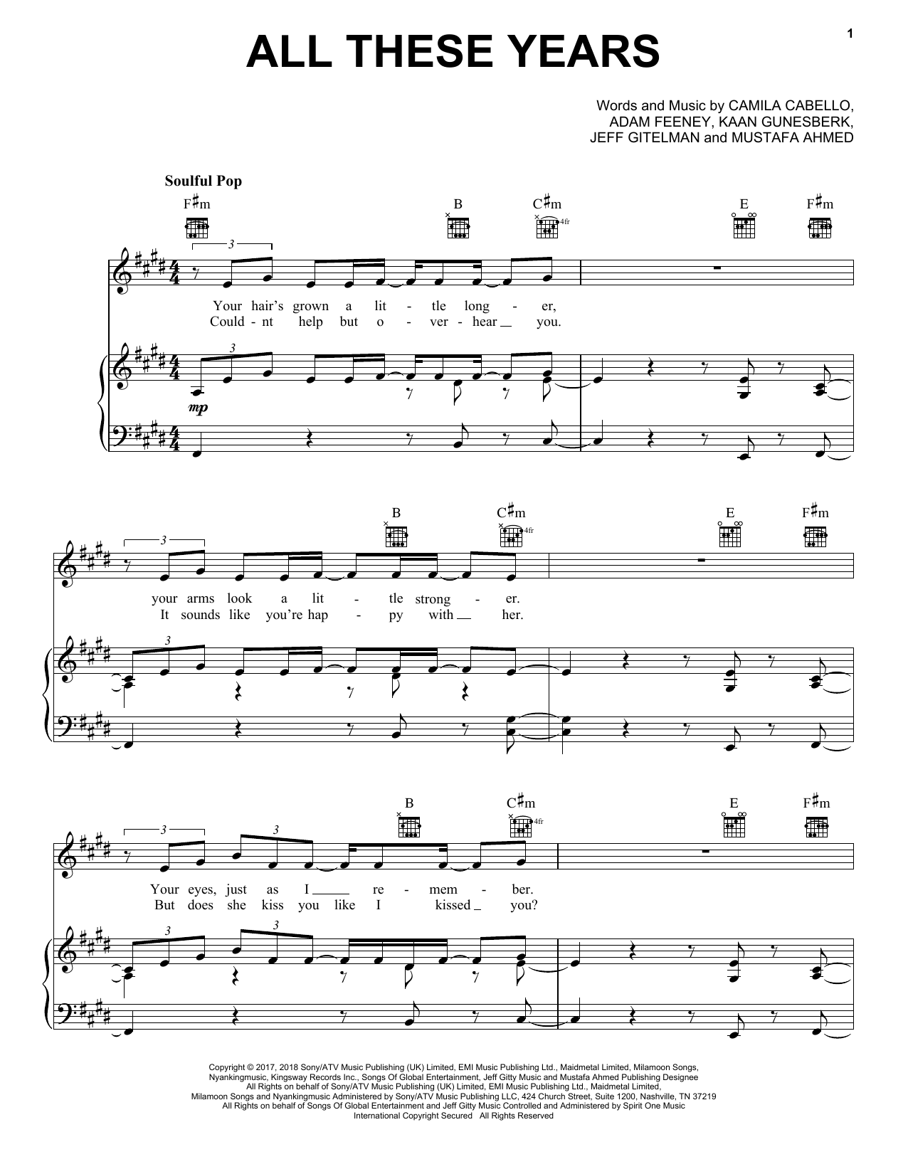 Camila Cabello All These Years Sheet Music Notes Chords
