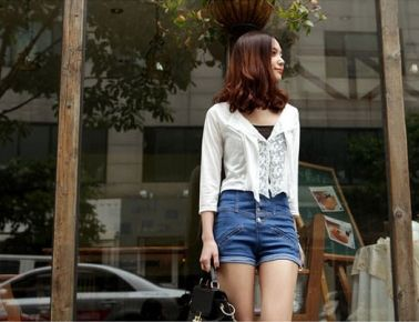 Women's Skinny High Waist Turnup Denim Shorts with Sigle Breast $12.82