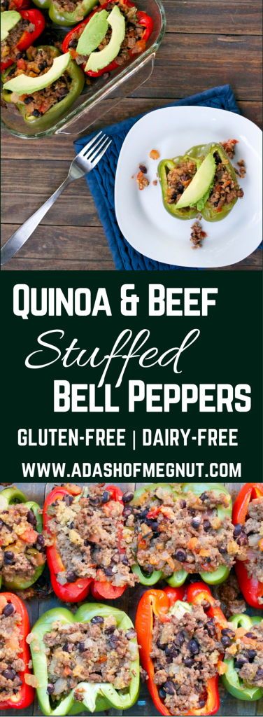 Beef and Quinoa Stuffed Bell Peppers #bellpepperrecipes