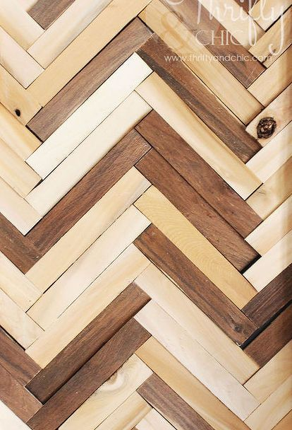 Amazing herringbone pattern wall art using wood shims crafts home decor woodworking projects New - Elegant herringbone wall For Your House