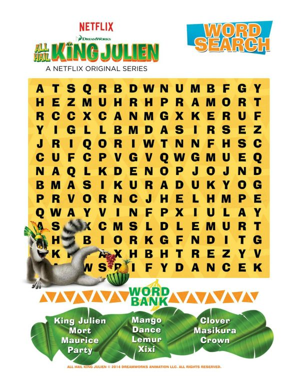 Free Printable All Hail King Julien Word Search Printable Coloring