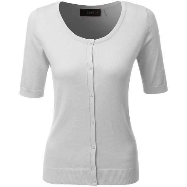 LE3NO Womens Fitted Short Sleeve Fine Knit Cardigan ($21) ❤ liked ...