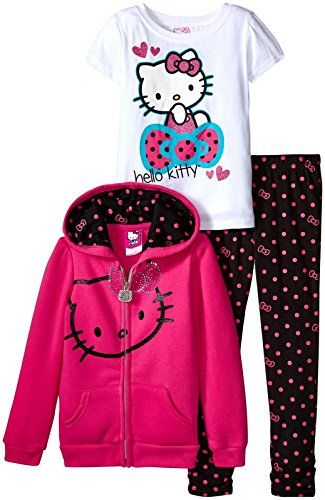 60708197a Hello Kitty Girls Pink and Polka Dot 3 Piece Zip up Hoodie Legging Set with  Sparkle Glitter and Metal Stud Details Fuchsia Purple 5 ** Details can be  found ...