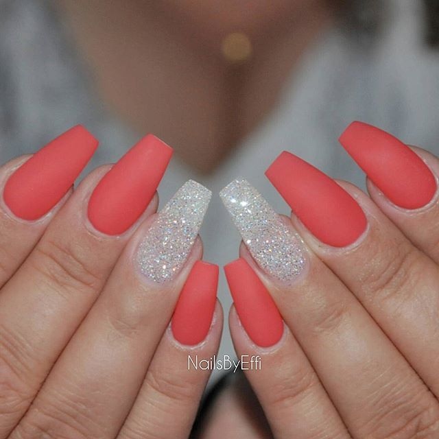 Matte Corail With Daimond Glitter Coffin Shape Nails Prom Nails Coral Nails