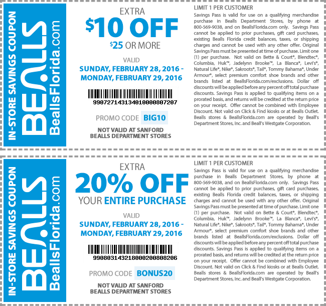 coupons bealls online