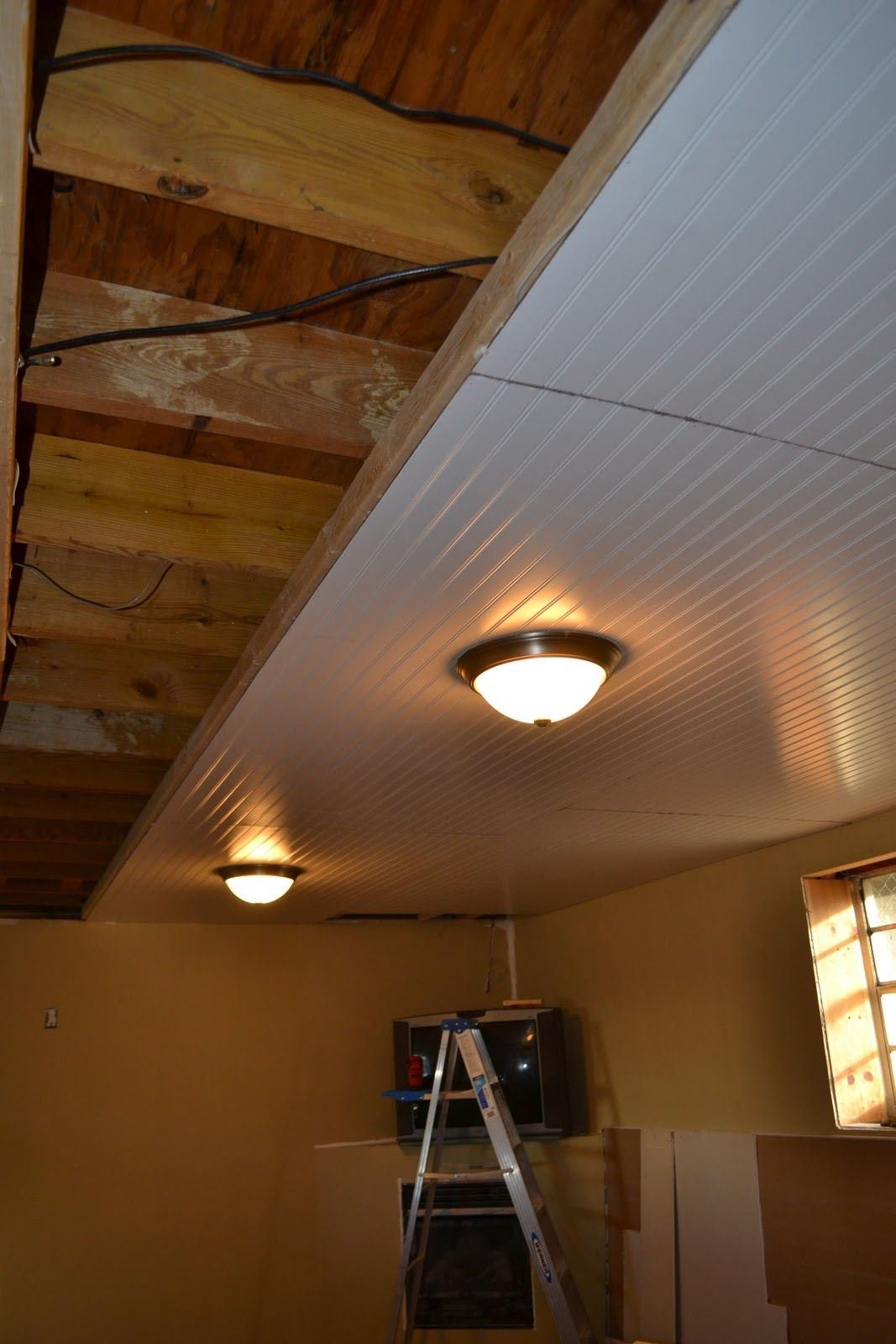 Basement Ceiling Installation Looks So Much Better Than The Typical Ceiling Rules Basement Makeover Basement Remodel Diy Basement Remodeling