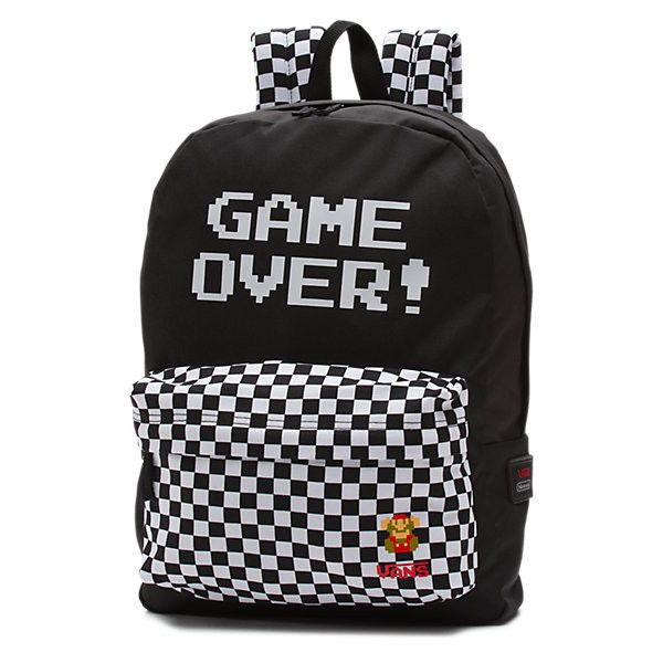 Nintendo Backpack (€36) ❤ liked on Polyvore featuring bags, backpacks, game over, polyester backpack, backpack bags, day pack backpack, checkered backpack and vans bag