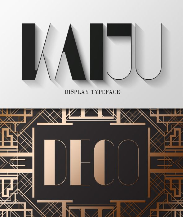 Kaiju is a typeface that focuses on the balance and distribution of weight. As a display font, rather than a set lowercase, it is comprised of 2 sets of uppercase alphabets, allowing the user to mix and match where they see fit. With slender lines and easy legibility, this art deco typeface is great for many applications. (poster, editorial, flyer)