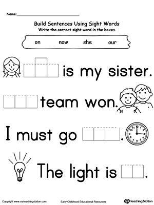preschool and kindergarten worksheets sight words learning sight words sight words reading. Black Bedroom Furniture Sets. Home Design Ideas