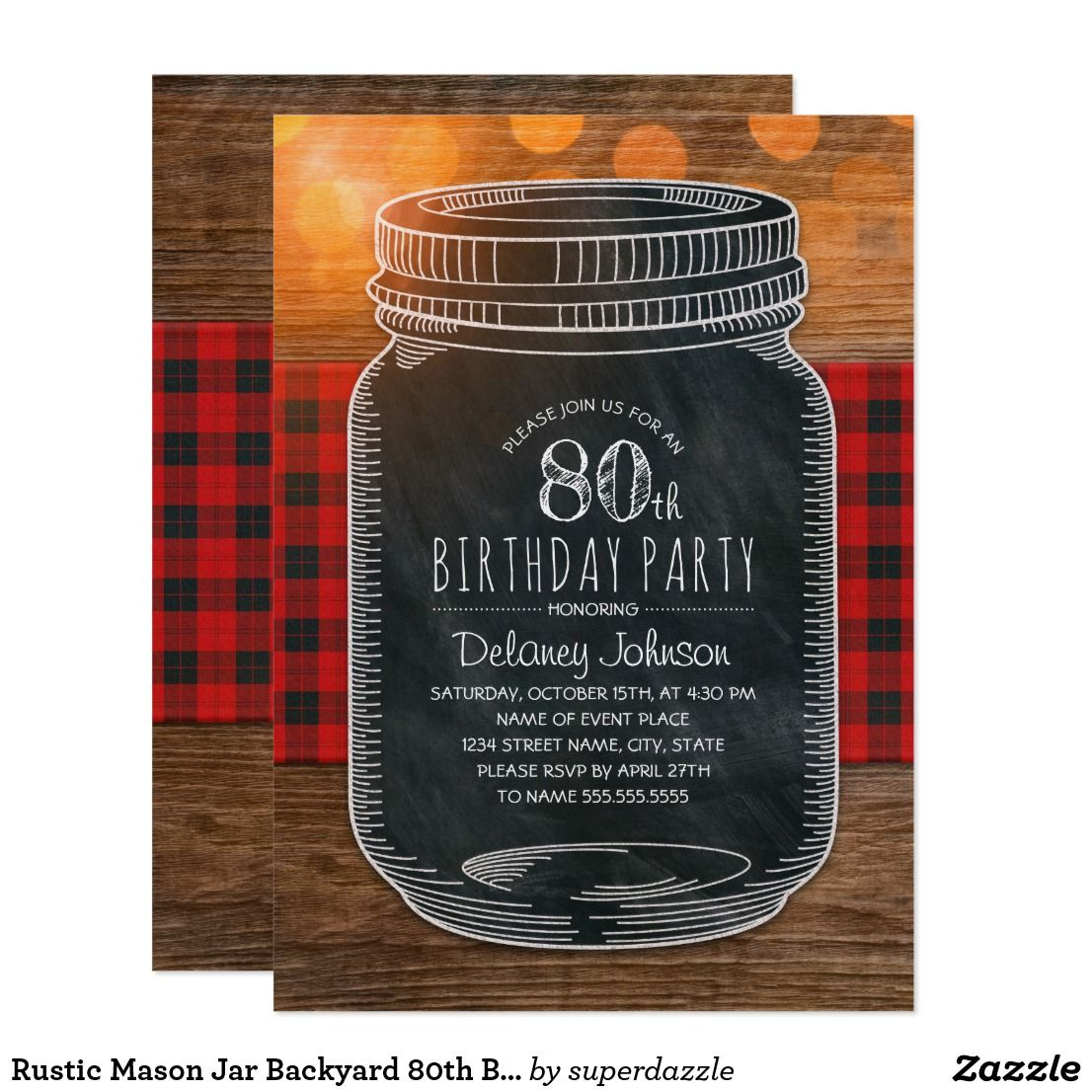 Rustic Mason Jar Backyard 80th Birthday Party Invitation ...