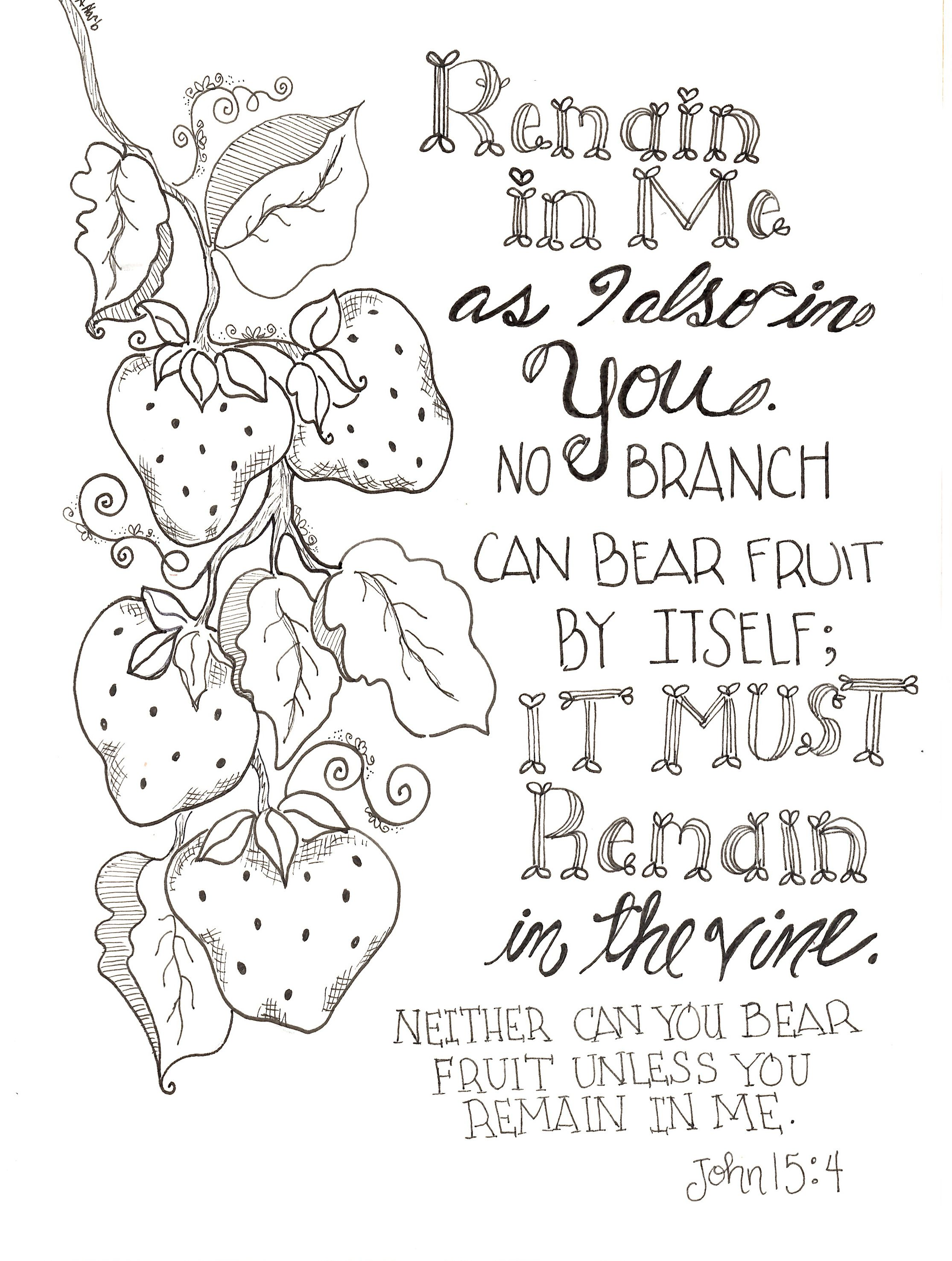 Free Inspirational Remain In Me Scripture Coloring Pages Printable 8x10 Sundayschool Color And