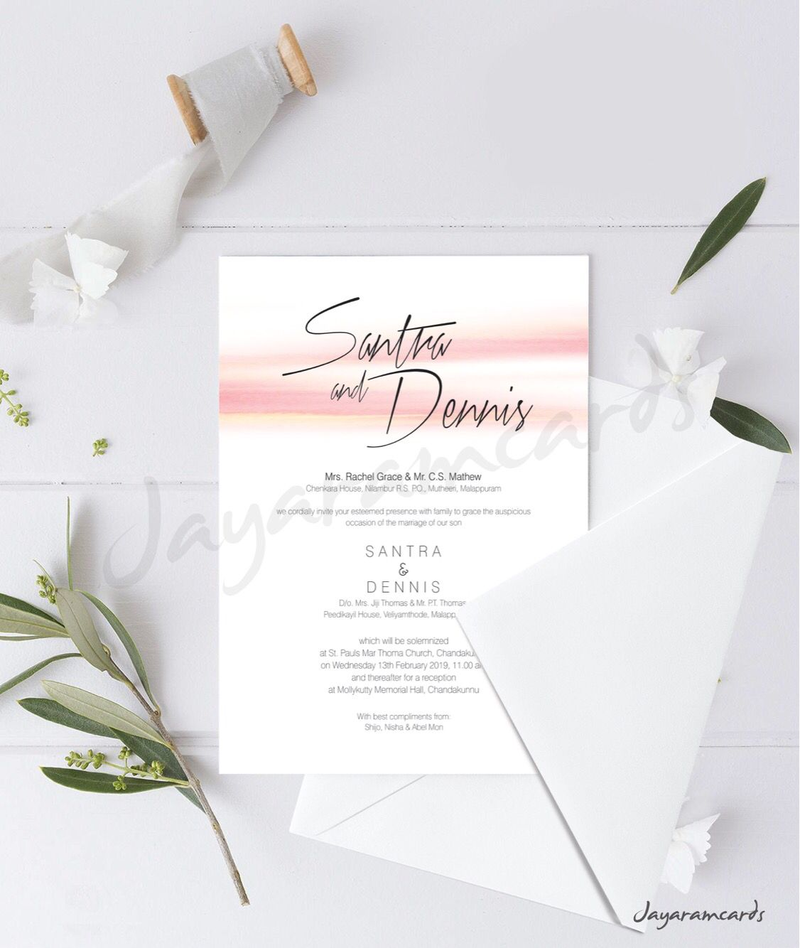 Simple White Invitation Card With Peach Water Color Design