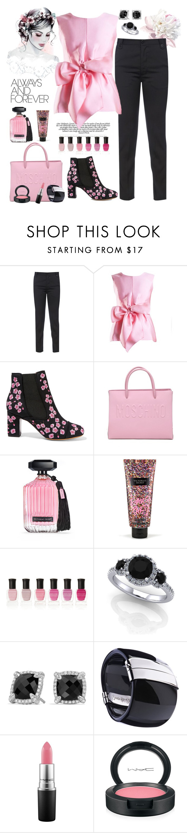 """Pink and Black"" by puppylove7 ❤ liked on Polyvore featuring Yanny London, Tabitha Simmons, Moschino, Victoria's Secret, Deborah Lippmann, David Yurman and MAC Cosmetics"