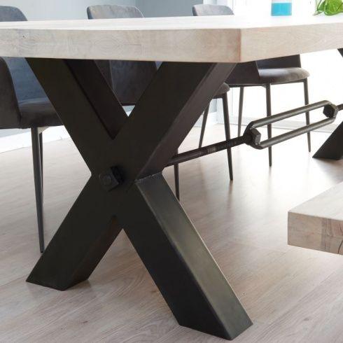 750e03d2e1ee9 Rustik Industrial Wood Dining Table   Metal Legs