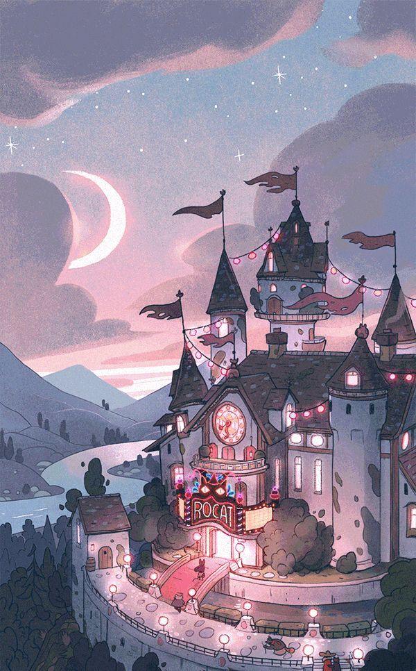 The Lights Were Lit On The Mysterious Castle Up The Misty Hill Castle Hill Lights Lit Misty Mys Kota Fantasi Gambar Menakjubkan Pemandangan Khayalan