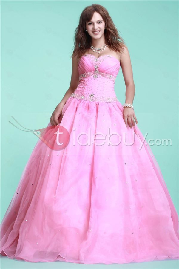 Beautiful Pink Sweetheart Floor-Length Ela's Ball Gown Quinceanera Dress